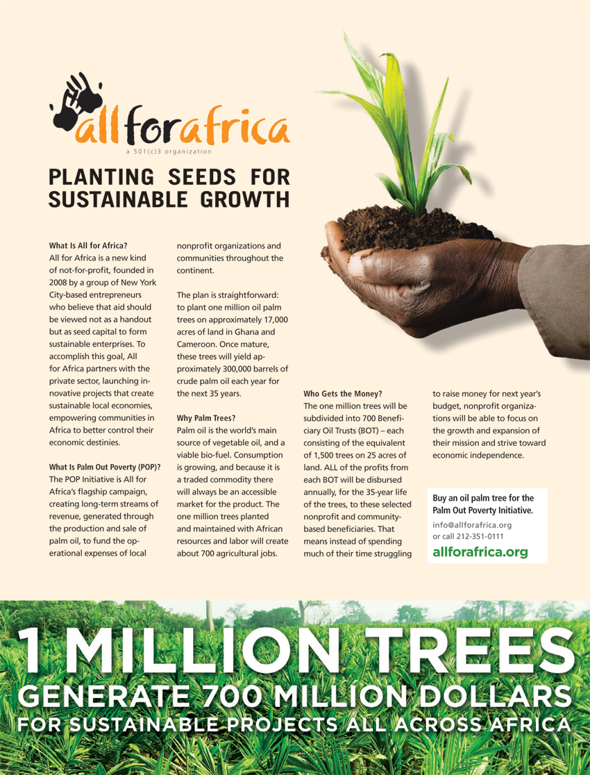 All for Africa ad released in Fortune Magazine, Tronvig Group