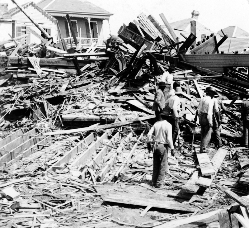 Body in the ruins Galveston hurricane