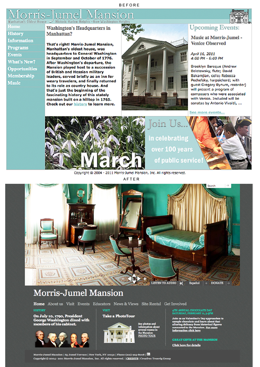 Morris-Jumel Mansion website design, Tronvig Group