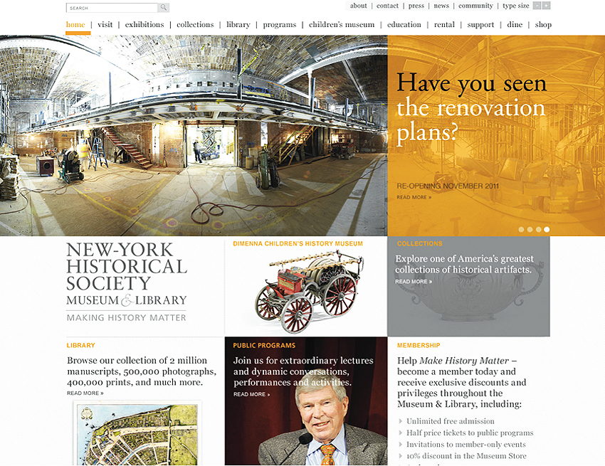 New York Historical Society Museum Website design, Tronvig Group