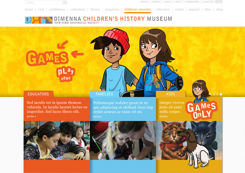 DiMenna Children's History Museum website desing, Tronvig Group