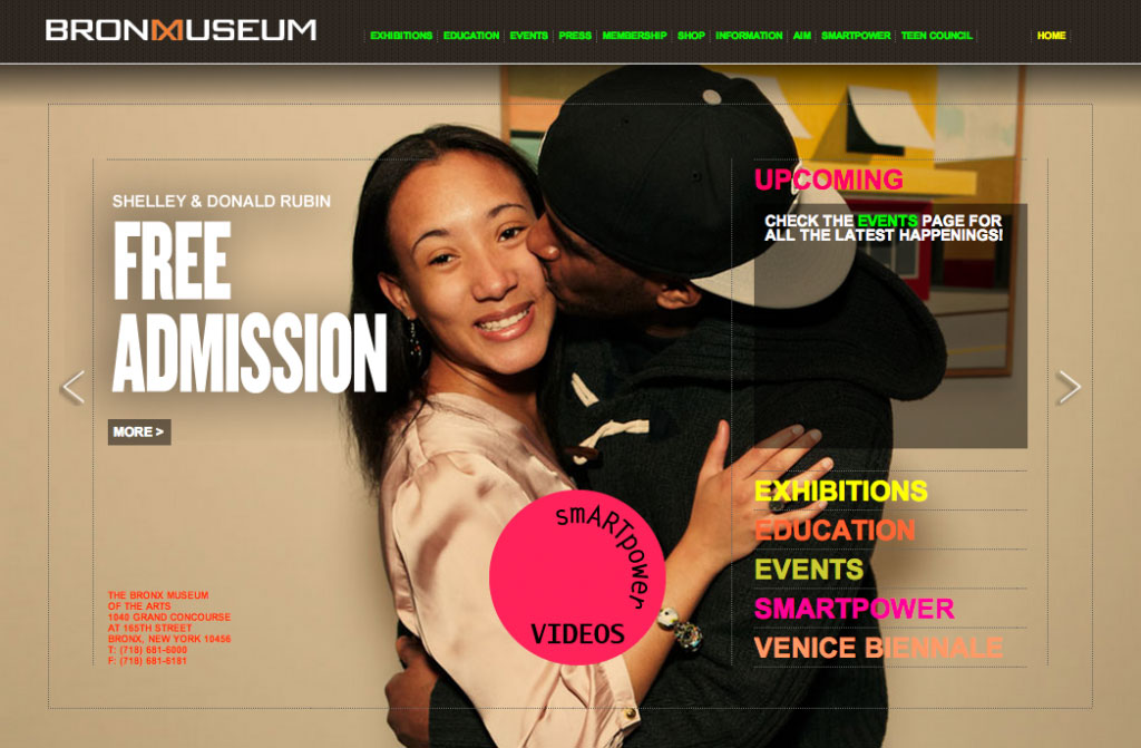 Marketing of the Bronx Museum, website design